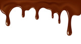 Vector realistic flowing chocolate illustration isolated on white background - 151867637