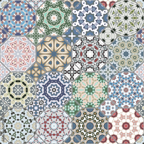 Set of octagonal and square eastern ornaments. Decorative and design elements for textile, book covers, manufacturing, print, gift wrap. Vector illustration. - 151870021