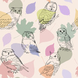 Abstract seamless pattern with cute owls and leaves