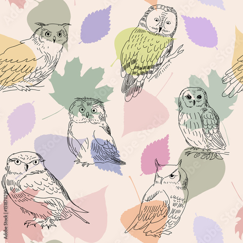 Abstract seamless pattern with cute owls and leaves - 151870290