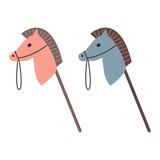 Horse toy icon on the white background.