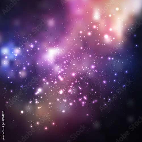 Space vector background with stars. Universe illustration. Colored cosmos backdrop with stars claster.