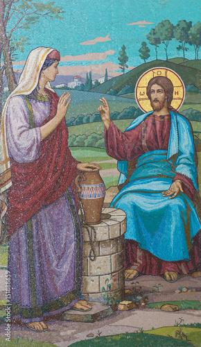 Mozaika Jezusa i Samarytanka przy studni