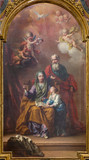 TURIN, ITALY - MARCH 13, 2017: The painting of St. Joachim, little Virgin Mary and st. Ann in church Chiesa di San Giuseppe by unknown artist of 19. cent. - 151889048