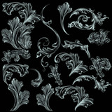 Collection of vector swirl flourishes for design - 151908492