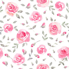 Romantic Pink roses - Floral seamless Pattern.