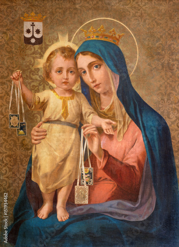 TURIN, ITALY - MARCH 16, 2017: The painting of Our Lady of Mount Carmel in church Chiesa della Madonna del Carmine by unknown artist of 19. cent. © Renáta Sedmáková