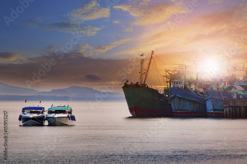 beautiful sun rising sky ranong port andaman sea southern of thailand most popular  traveling destination