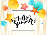 vector hand lettering summer phrase - hello summer - surrounded with hanging seashells and frame on wave background - 151961030
