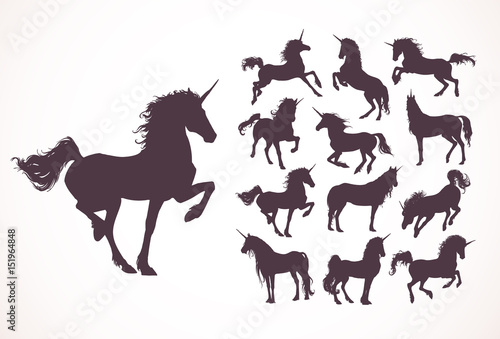 Magic Cute unicorns silhouettes, white stars, clouds. Stylish icons,vintage, background, horses tattoo. Hand drawn vector illustration, outline black, isolated different unicorn body collection