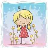 A little girl wear a red dress
