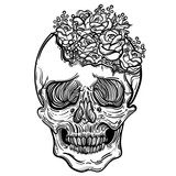 Vector illustration with a human skull and beautiful roses. Gothic brutal skull. For print t-shirts or book coloring. - 151981880
