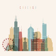 Chicago City skyline detailed silhouette. Transparent style.