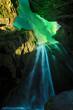 Green aurora light behind unique Gljufrabui waterfall