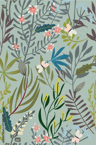 Vintage Floral Seamless Pattern - 151997815