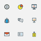 Business Colorful Outline Icons Set. Collection Of Pie Chart, Team, Identification Document And Other Elements. Also Includes Symbols Such As Manager, Badge, Unity.
