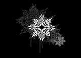 florales Sternen Muster auf schwarzem Grund