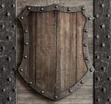 wood shield on medieval castle gate 3d illustration