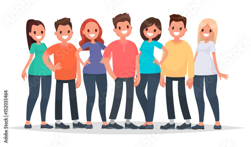 Group of happy people in casual clothes on a white background. Vector illustration