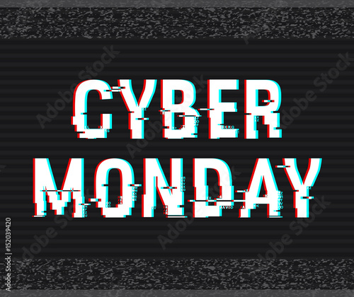 Cyber Monday glitch text. Anaglyph 3D effect. Technological retro background. Online shopping concept. Sale, e-commerce, retailing, discount theme. Vector illustration. Creative web template.