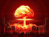 Nuclear explosion. Atomic bomb in the city. Symbol of nuclear war, end of  world,  dangers of nuclear energy - 152041470