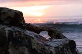 Stone at the sea on the sunrise