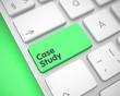 Business Concept: Case Study on Modernized Keyboard lying on Green Background. Modern Keyboard Button Showing the Inscription Case Study. Message on Keyboard Green Key. 3D Render.