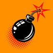 Cartoon bomb with fire illustration. Design element in vector. - 152059243