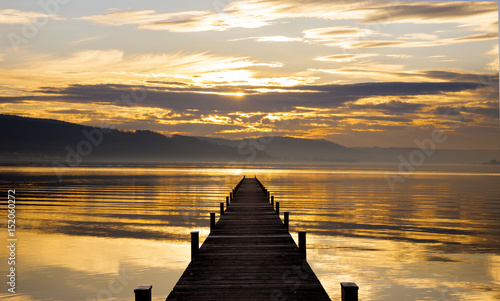 Plakat Steg bei Sonnenuntergang