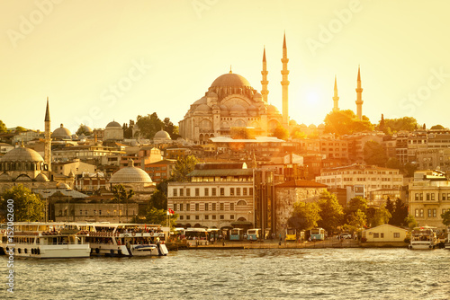 Golden Horn in Istanbul at sunset, Turkey Poster
