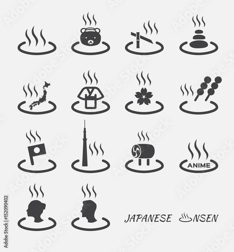 Set of Japanese hot spring marks ( onsen ). vector icon - 152090402