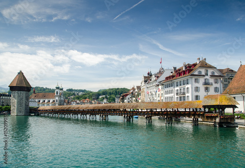 Chapel Bridge or Kapellbrucke - covered wooden footbridge in Lucerne, Switzerlan Poster