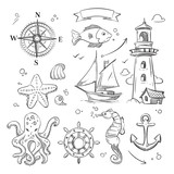 Hand drawn sea, marine objects and ocean animals vector set