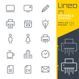 Fototapety Lineo Editable Stroke - Office and Business outline icons. Vector Icons - Adjust stroke weight - Expand to any size - Change to any colour.