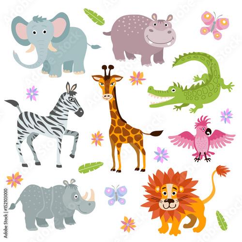 Staande foto Kinderkamer Cartoon cute african savanna animals vector set