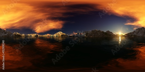 Foto op Plexiglas Bruin illustration of a big lake panorama with ships and mountains background