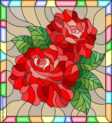 ilustracja-w-stylu-witrazu-z-kwiatow-i-lisci-czerwona-roza-na-brazowym-tle-w-jasnym-ramki