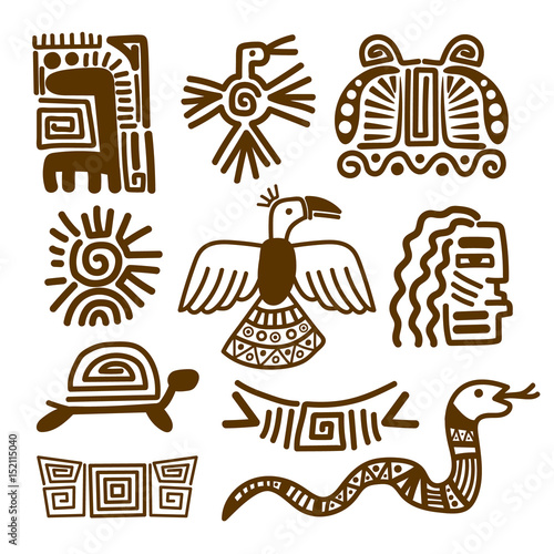 Tribal Indian Patterns Or Mexican Symbols Buy Photos Ap Images