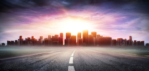 Cityscape At Sunset View Highway - Business Concept  © Romolo Tavani