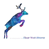 Silhouette of deer cut out of paper. Starry sky with different constellations. Hand draw watercolor. Card. Chase Your dreams.