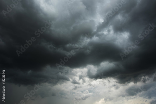 Dark sky and black clouds before rainy, Dramatic black cloud and thunderstorm - 152133446