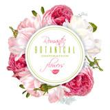 Romantic flowers round banner - 152145677