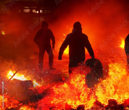 Foto op Plexiglas Kiev Fire fighting on the street Grushevskogo