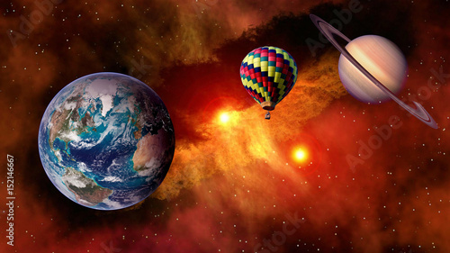Fotobehang Rood paars Hot air balloon outer space star planet Earth fairy tale stunning surreal fantasy landscape. Elements of this image furnished by NASA.