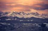 Morning panorama of snowyTatra Mountains, Poland