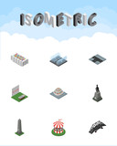 Isometric Street Set Of Plants, Expressway, Flower Decoration And Other Vector Objects. Also Includes Carousel, Monument, Aiming Elements.