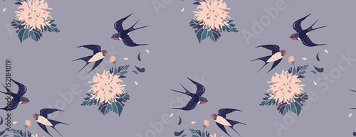 Materiał do szycia Feminine seamless pattern in vintage style. Swallows and chrysanthemums on a gray background. background for textile, manufacturing, book covers, wallpapers, print or gift wrap. Vector illustration