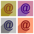 Set of flat icons with long shadow e-mail