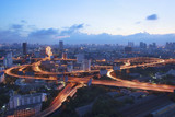 beautiful scenic top view of bangkok expressway and vehicle traffic roundabout at twilight time