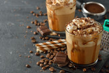 Fototapety Cold frappe coffee with cream
